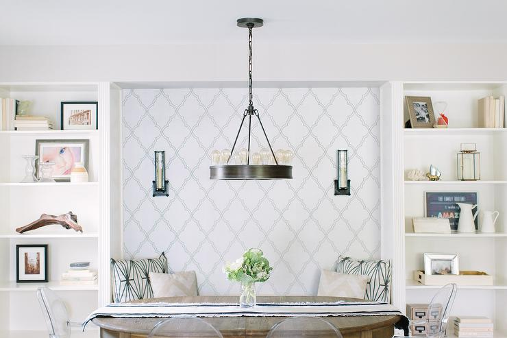 Wallpapered breakfast nook bench niche transitional for Dining room niche ideas