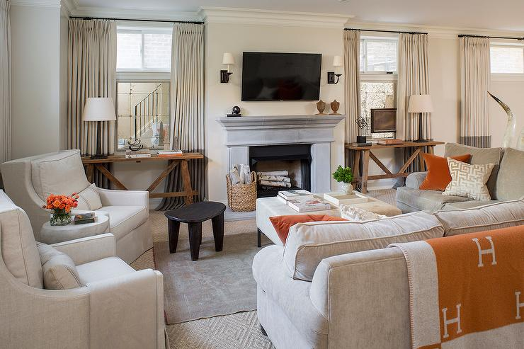 Grey Living Room With Orange Accents Transitional