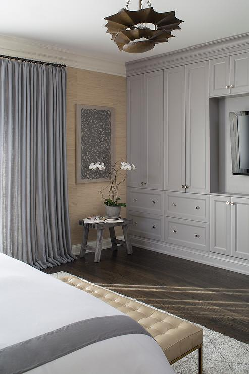 Master Bedroom With Gray Built In Cabinets Contemporary