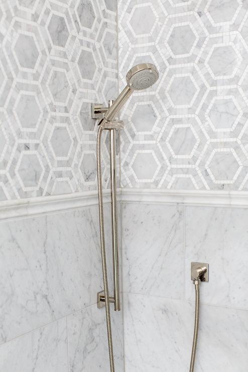 Walk In Shower With Mixed Marble Tiles Transitional