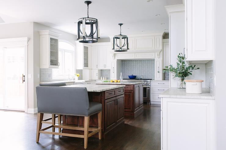 Blue Leather Counter Stools At Island Transitional Kitchen
