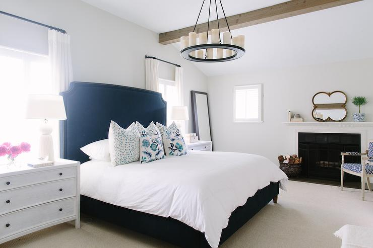 White and navy bedroom with fireplace contemporary Light grey and navy bedroom