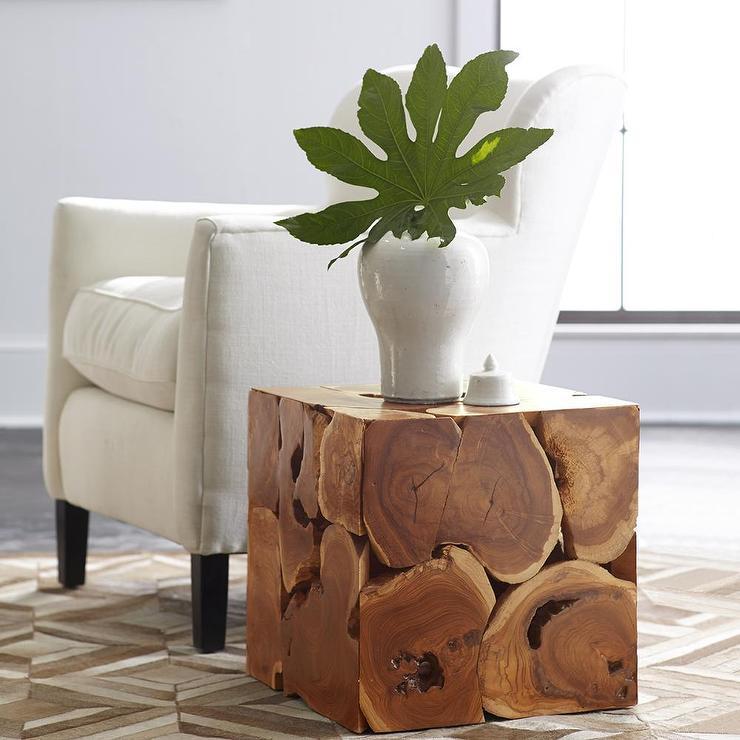Teak Cube Coffee Table In Brown