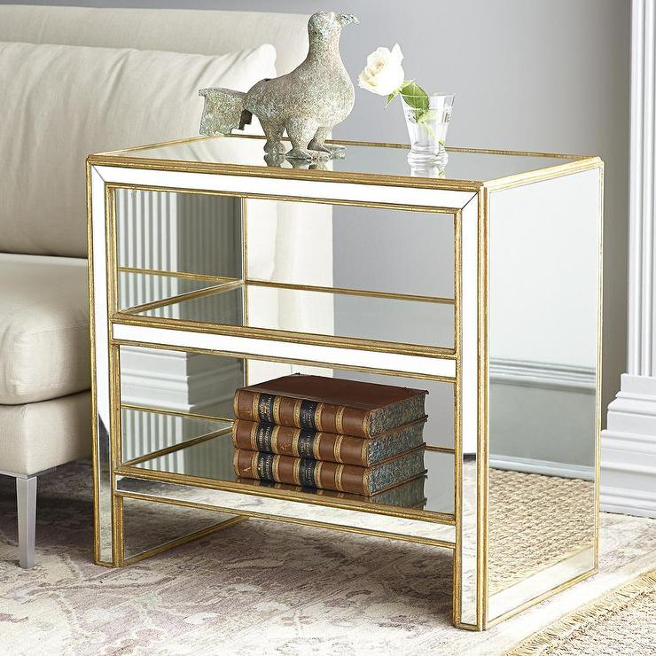 Famous Mirrored Black Side Table With Shelves OQ01