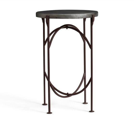 Round Tree Stump Branches Silver Side Table