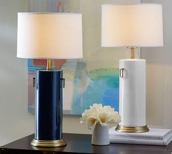 Celine Ceramic Cylinder Lamp Base In White Or Blue