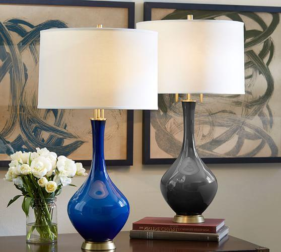 Glazed Glass Lamp Base In Grey Or Blue