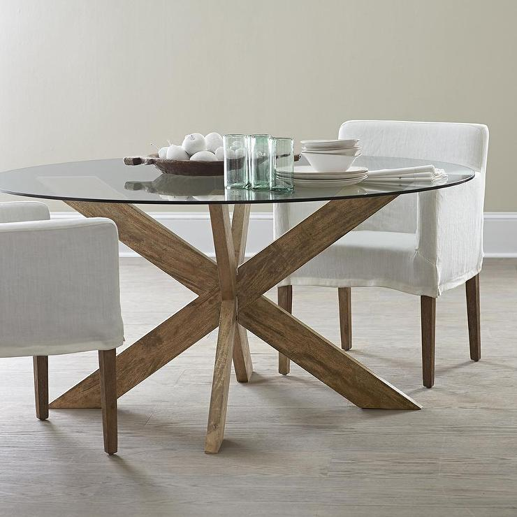 Modern X Base Dining Table In Brown