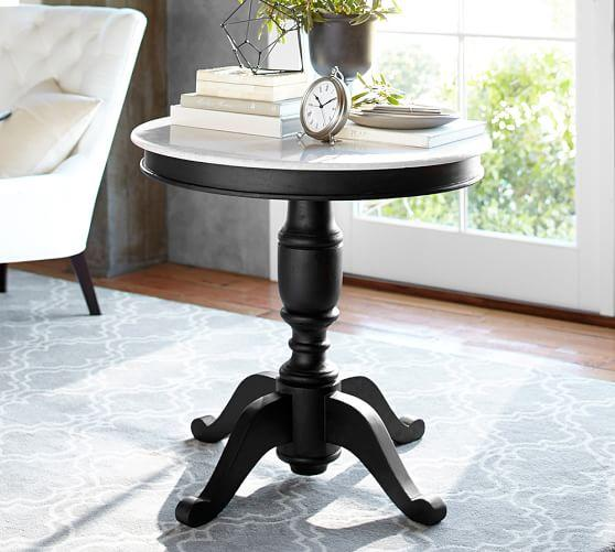 White Top And Black Base Square Pedestal Table