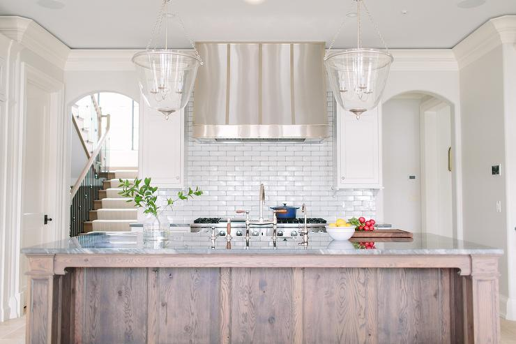 Two Glass Bell Jar Lanterns Over Stained Kitchen Island - Lanterns over kitchen island