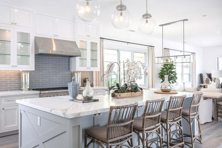 White Kitchen With Gray Glass Backsplash
