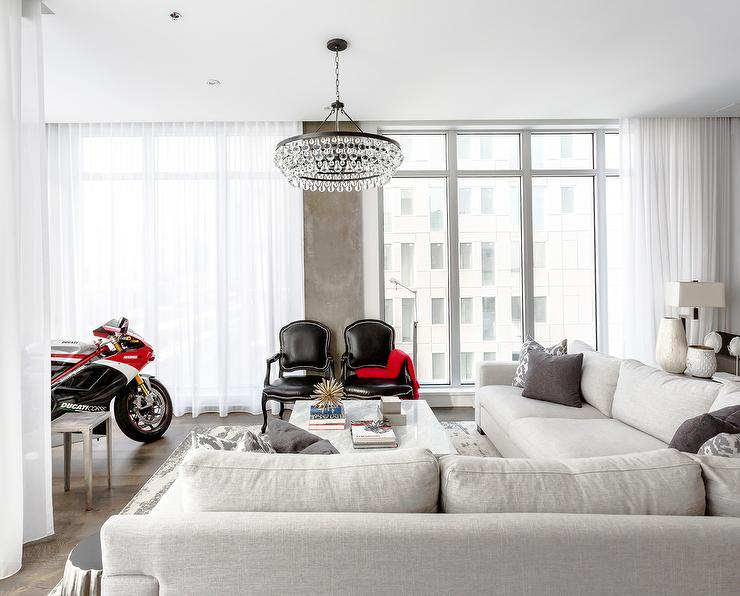 Living Room With Ducati Motorcycle Contemporary Living