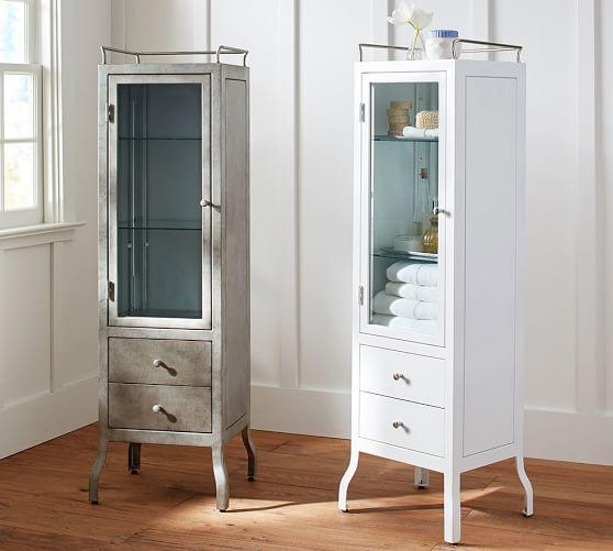 White And Rustic Steel Apothecary Floor Storage