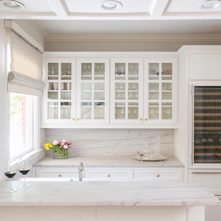 Glass Front Kitchen Cabinets With Gold Knobs Transitional Kitchen