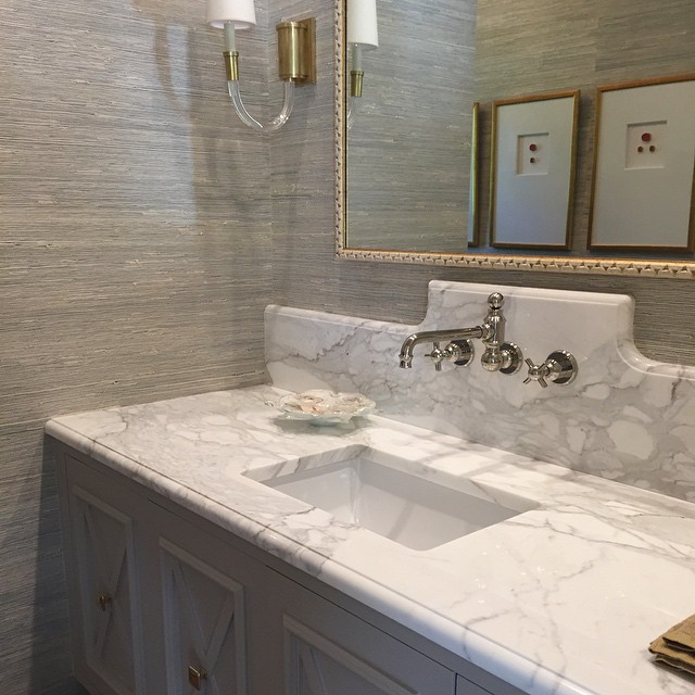 Gray Powder Room With Grey Grasscloth Transitional