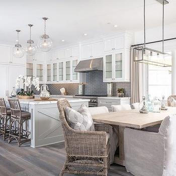 Light Grey Kitchen Floor kitchen with light grey perimeter cabinets - transitional - kitchen
