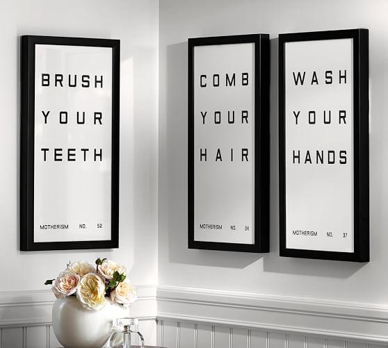 Bathroom Sign Prints In Black And White