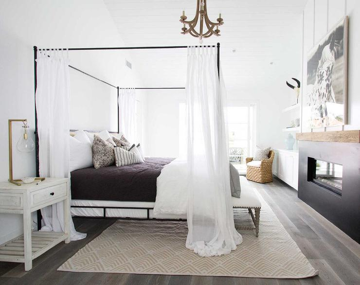 Iron Canopy Bed with Headboard and White Sheer Panels & Iron Canopy Bed with Headboard and White Sheer Panels - Cottage ...