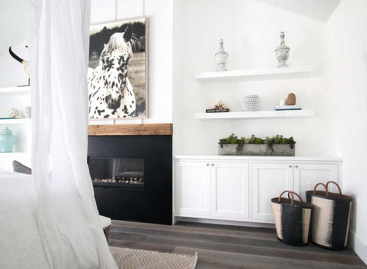 Bedroom Fireplace With Built In Shelves And Cabinets