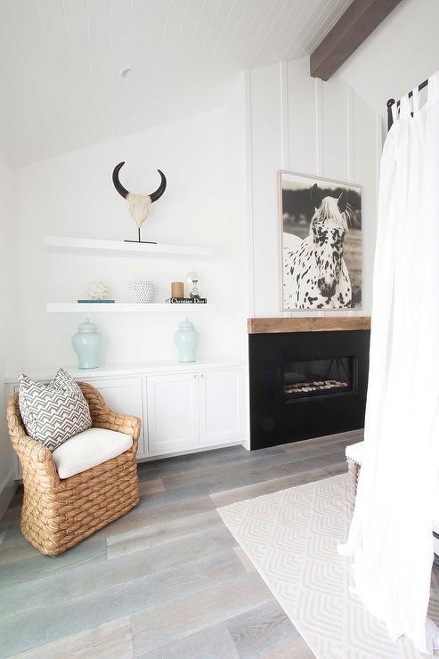 bedroom fireplace with floating shelves cottage bedroom. Black Bedroom Furniture Sets. Home Design Ideas