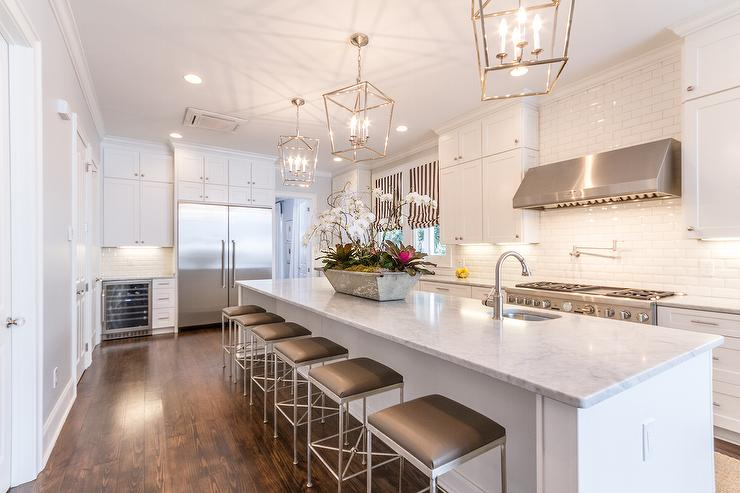 Merveilleux Stunning Kitchen Features An Extra Long Center Island Topped With Marble  Fitted With A Curved Prep Sink, Facing The Cooktop, And Satin Nickel Faucet  Lined ...
