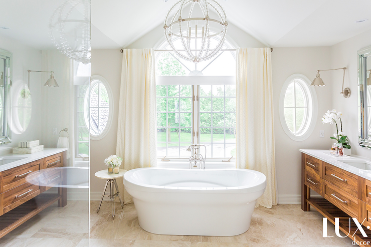 Vaulted Master Bathroom Ceiling With Chandelier