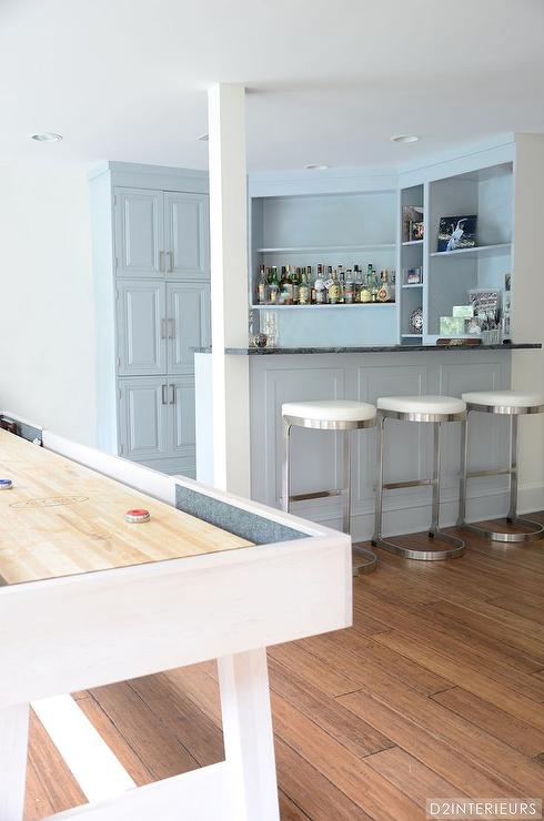Game Room With Gray Built In Bar Contemporary Media Room