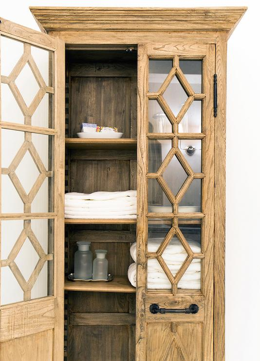 Georgian Fretwork Glass Double Door Cabinet Transitional
