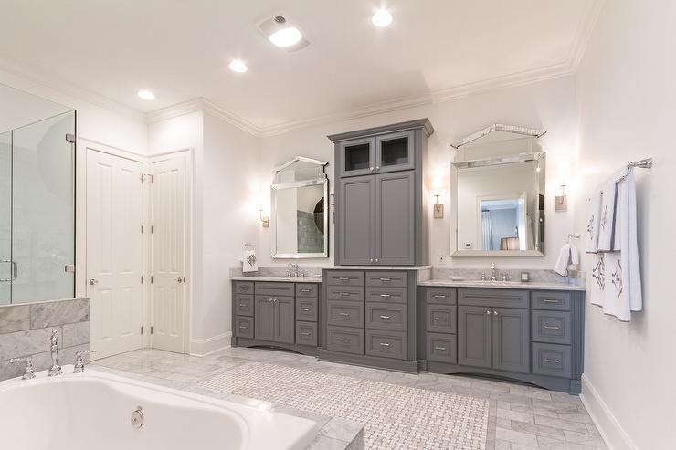 Gray raised panel bathroom cabinets with carrera marble for Grey bathroom cupboard