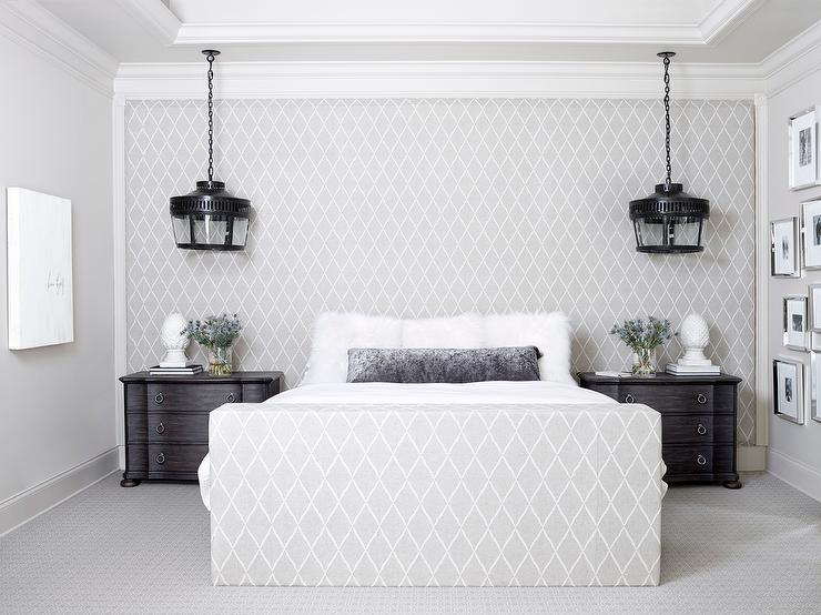 fabric paneled wall as headboard - contemporary - bedroom Matching Black Nightstands