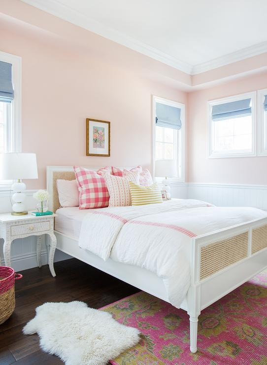 Pink Girl Bedroom with Love & Happiness pink walls by Benjamin Moore. Come see the Best Sophisticated, Chic and Subtle Pink Paint Colors on Hello Lovely Studio!