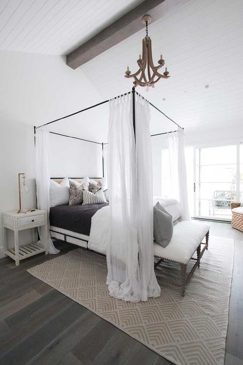 Arteriors Manning Chandelier Above Canopy Bed & Arteriors Manning Chandelier Above Canopy Bed - Cottage - Bedroom