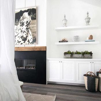 Lovely Bedroom Fireplace With Built In Shelves And Cabinets