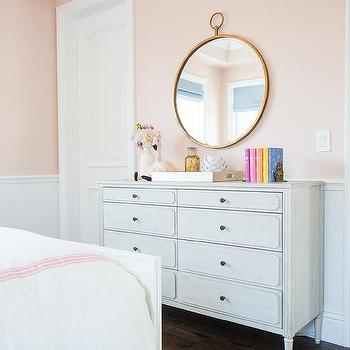 Pink girl bedroom with bone inlay nightstands for Benjamin moore pristine