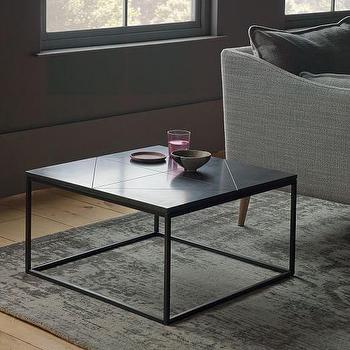 Delicieux Etched Granite Side Table In Black