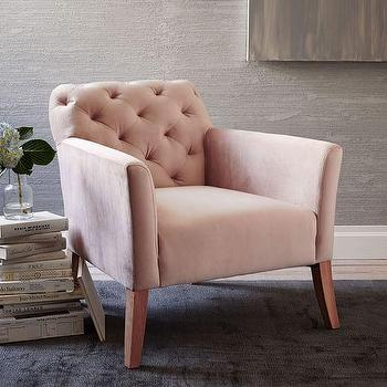 Metal Frame Upholstered Chair In Blush