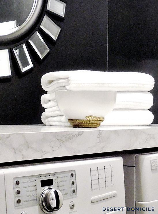 Marble Like Shelf Over Washer And Dryer Contemporary