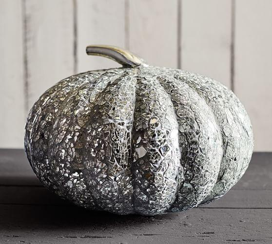 Glass Mosaic Pumpkin In Silver