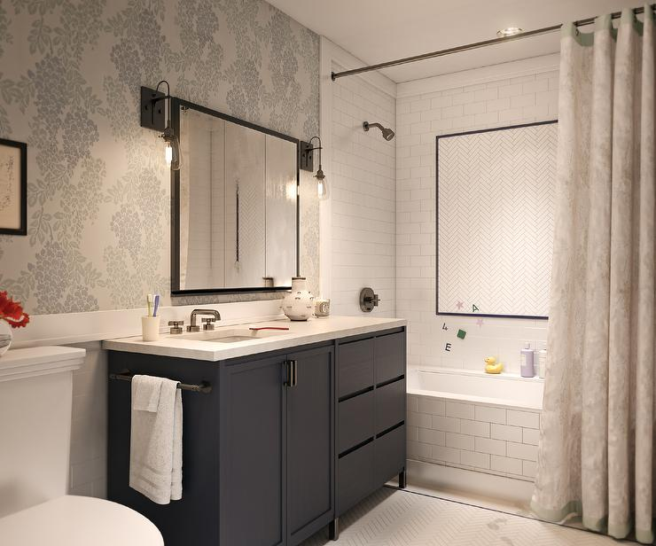 Shower With White Herringbone Accent Tiles Contemporary