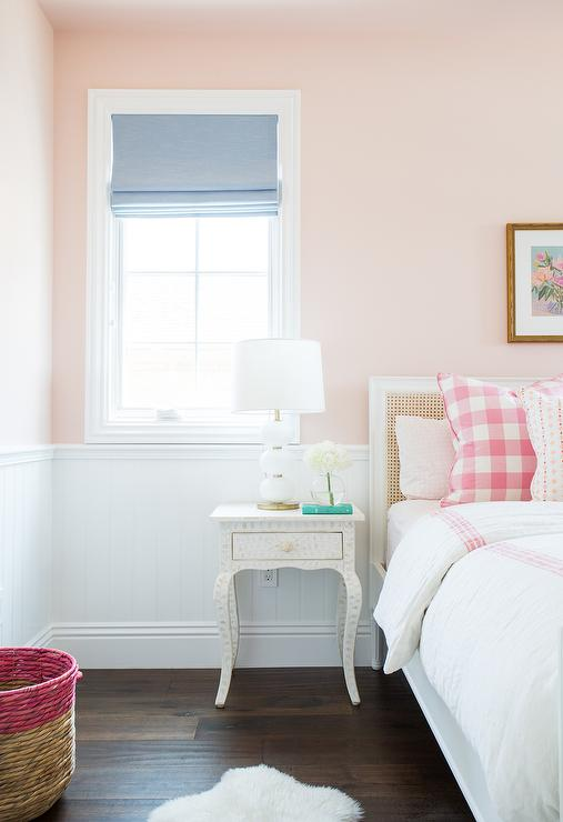 White cane bed with pink buffalo check pillows - Shades of pink for bedroom walls ...