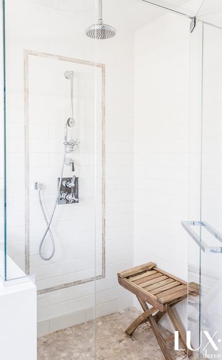 Captivating WhiteLong Staggered Shower Tiles