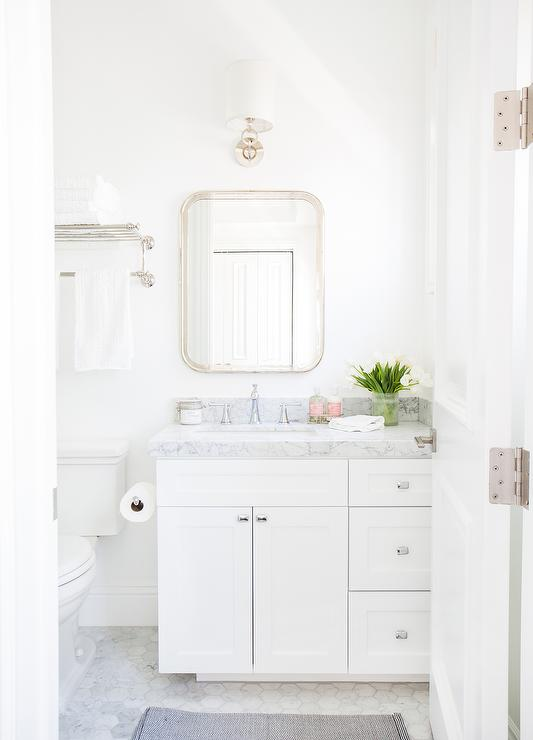 White And Gray Bathroom With Marble Hex Floor