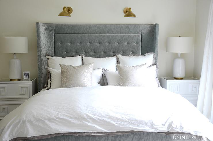 Gray Velvet Tufted Headboard With White Greek Key