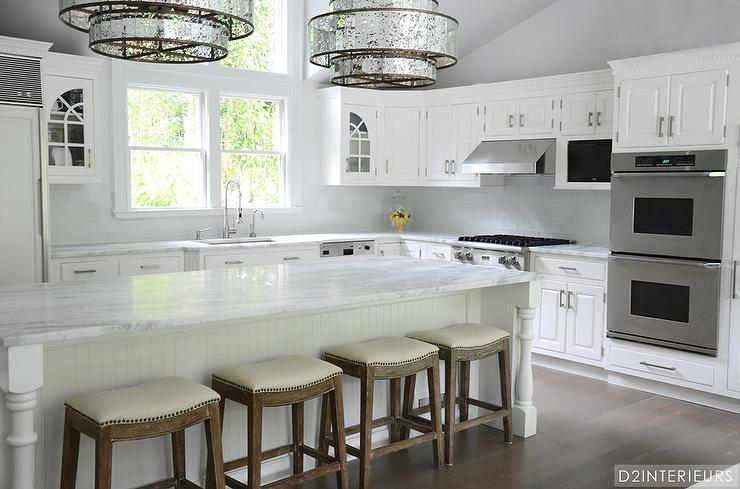 White Beadboard Kitchen Island With Turned Legs