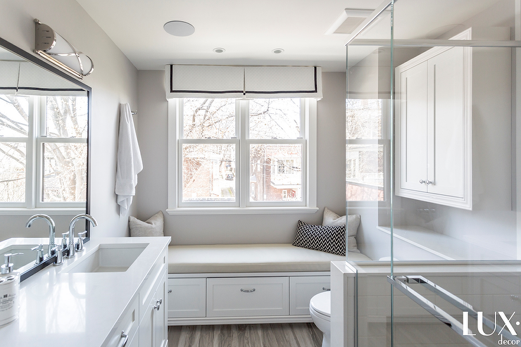 Small Master Bathroom With Window Seat Transitional Bathroom