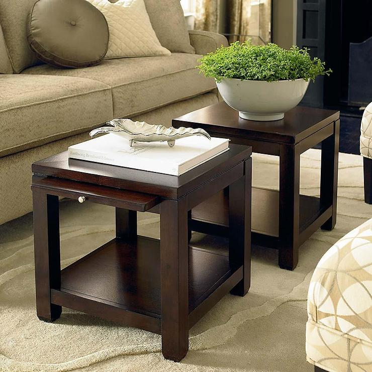 Bunching Cube Coffee Table With Satin Nickel Hardware In Dark Walnut