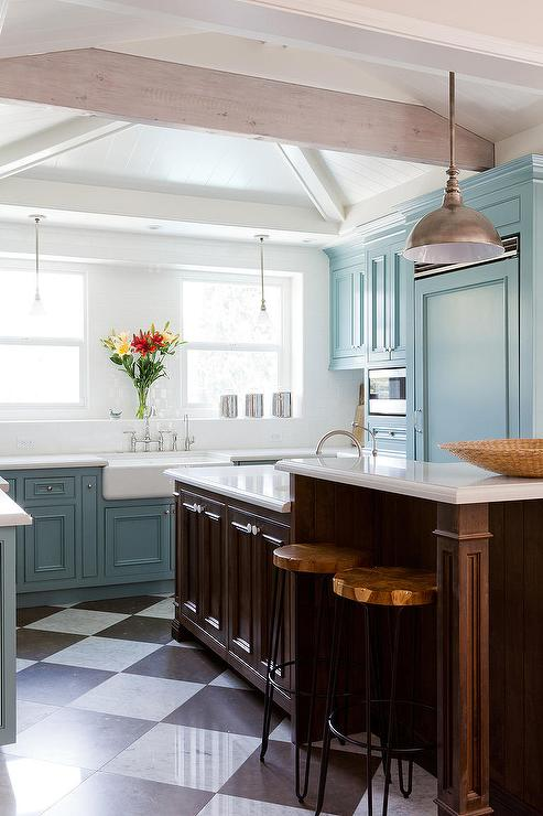 Blue Kitchen Cabinets With Harlequin Floor Contemporary