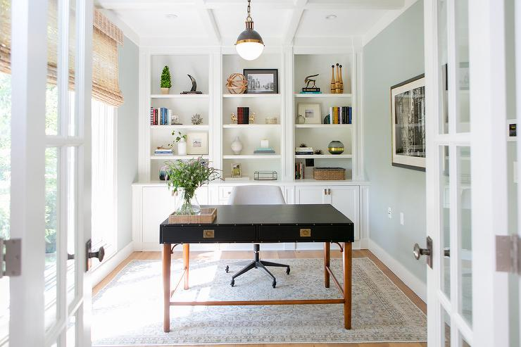 Home Office With Wall Of Built In Bookcase