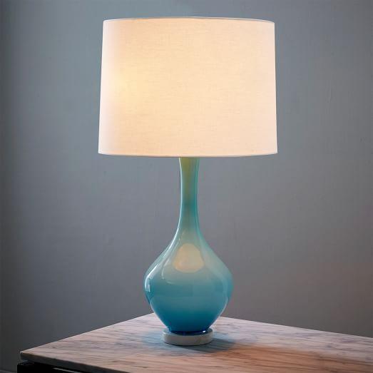 West Elm Rejuvenation Colored Glass Table Lamp In Light Blue