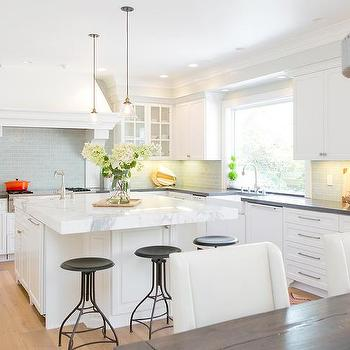 Thick Dark Gray Quartz Kitchen Island Countertops Design Ideas